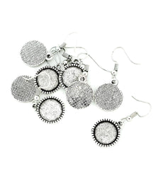 Antique Silver Tone Cabochon Earrings - French Hook - 12mm Tray - 10 Pieces 5 Pairs - Z865
