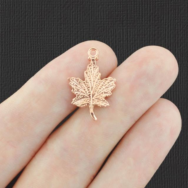 10 Maple Leaf Rose Gold Tone Charms 2 Sided - GC1416