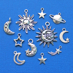 Celestial Charm Collection Antique Silver Tone 11 Charms - COL010