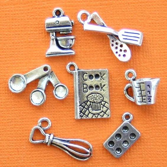 Baking Charm Collection Antique Silver Tone 7 Different Charms - COL249