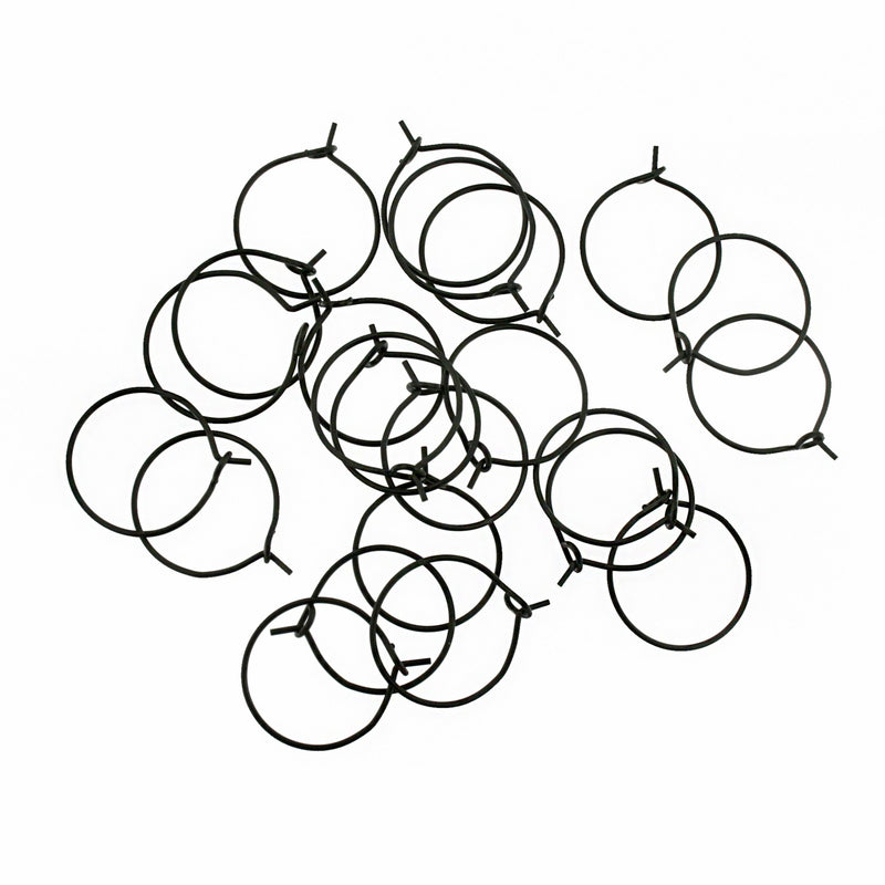 Gunmetal Stainless Steel Earring Wires - Wine Charms Hoops - 21mm - 10 Pieces - FD923