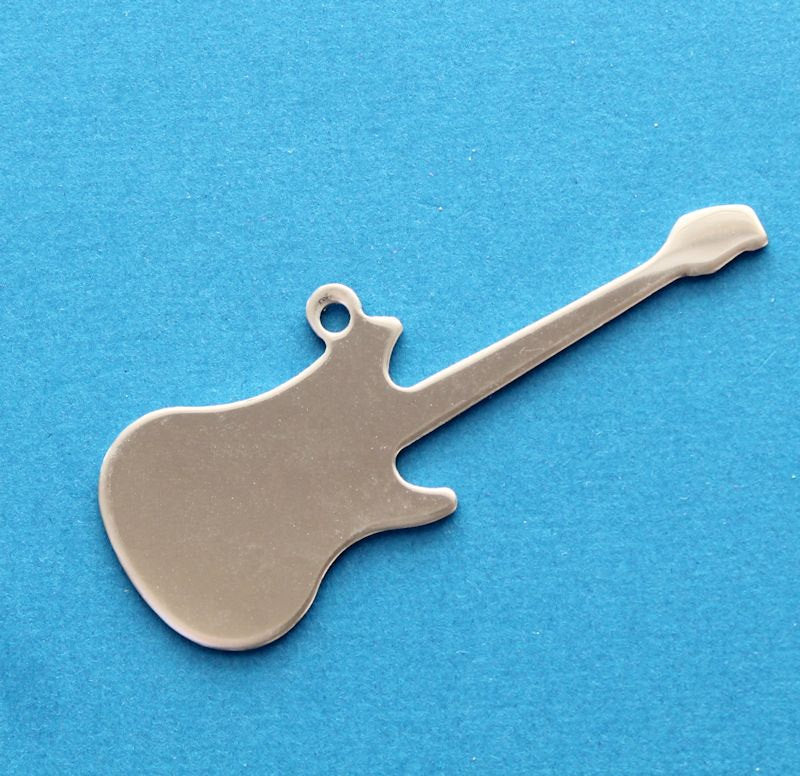 2 Stainless Steel Guitar Pendants Stamping Tags MT143