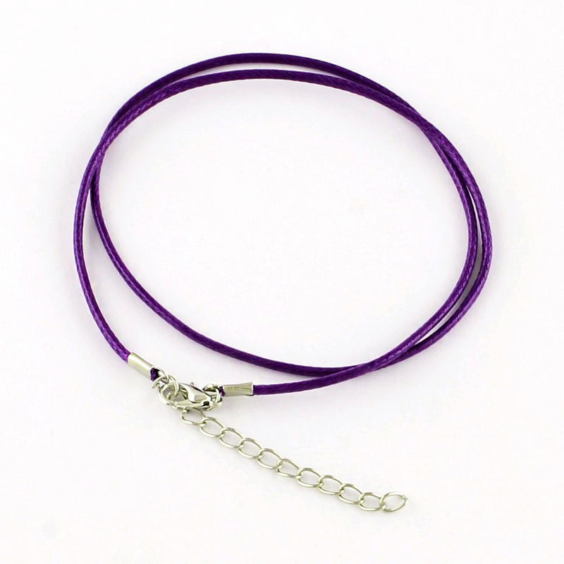 "Violet Purple Wax Cord Necklaces 18.7"" - 2mm - 5 Necklaces - N226"
