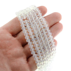 Faceted Glass Beads 6mm x 4mm - Clear White - 1 Strand 88 Beads - BD1654