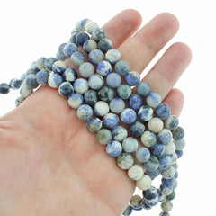 Round Natural Sodalite Beads 8mm - Deep Blue and Cream - 1 Strand 47 Beads - BD1334