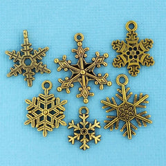 Snowflake Charm Collection Antique Gold Tone 6 Different Charms - COL132