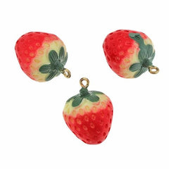 2 Strawberry Acrylic Charms 3D - K341