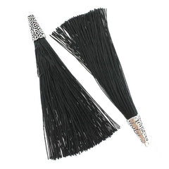 Polyester Tassel with Cap - Black and Silver Tone - 4 Pieces - TSP010