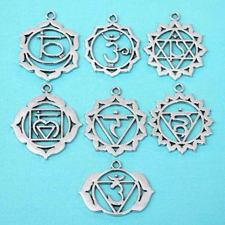 COL093 Buddha Charm Collection Antique Silver Tone 9 Different Charms