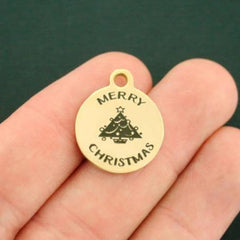 Christmas Gold Stainless Steel Charm - Merry Christmas - Exclusive Line - Quantity Options - BFS2694GOLD