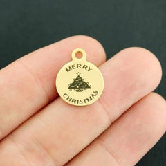 Christmas Gold Stainless Steel Charm - Merry Christmas - Smaller Size - Exclusive Line - Quantity Options - BFS3976GOLD
