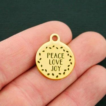 Christmas Gold Stainless Steel Charm - Peace Love Joy - Exclusive Line - Quantity Options - BFS732GOLD