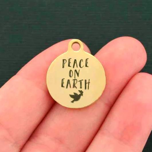 Christmas Gold Stainless Steel Charm - Peace on Earth - Exclusive Line - Quantity Options - BFS720GOLD