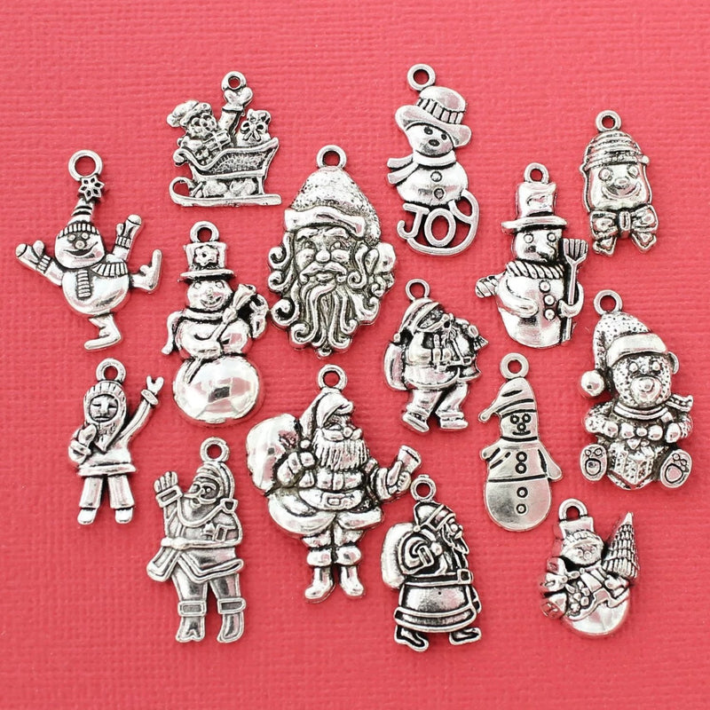 Santa Charm Collection Antique Silver Tone 15 Different Charms - COL097