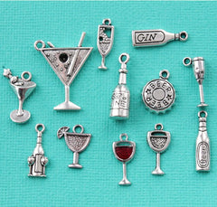 Deluxe Cocktails Charm Collection Antique Silver Tone 12 Different Charms - COL307