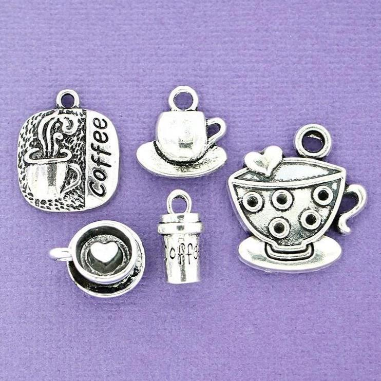 Coffee Charm Collection Antique Silver Tone 5 Different Charms - COL077