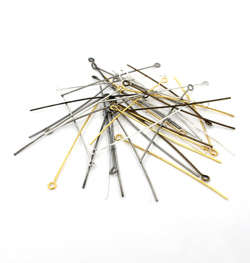Assorted Tone Eye Pins - 50mm - 100 Pieces - PIN71
