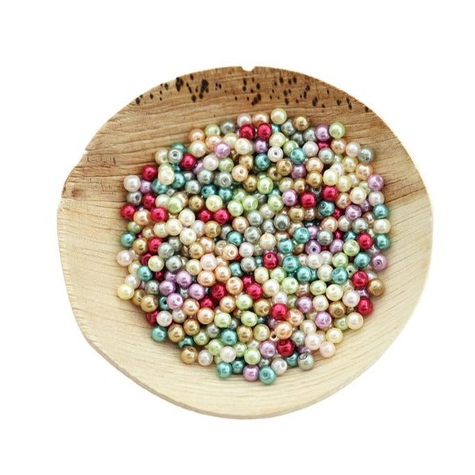 Round Glass Beads 4mm - Assorted Rainbow - 100 Beads - BD2600