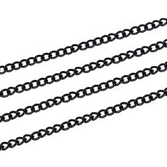 BULK Black Color Curb Chain 32 ft - 3mm - FD173
