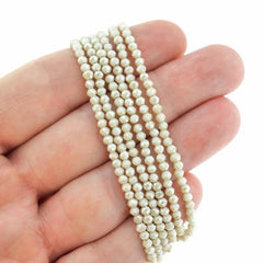 Faceted Glass Beads 3mm x 2mm - Electroplated Cornsilk - 1 Strand 204 Beads - BD692