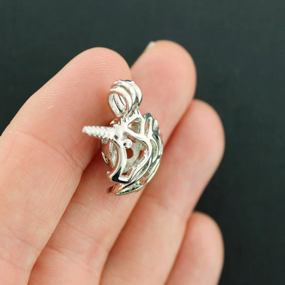 SC7906 Unicorn Bead Cage Antique Silver Tone 3D Locket Charm Fits 8mm Bead