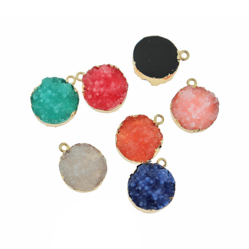 4 Assorted Druzy Gold Tone Resin Charms - K382