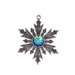 Snowflake Mermaid Scale Antique Silver Tone Cabochon Charms - SC5717