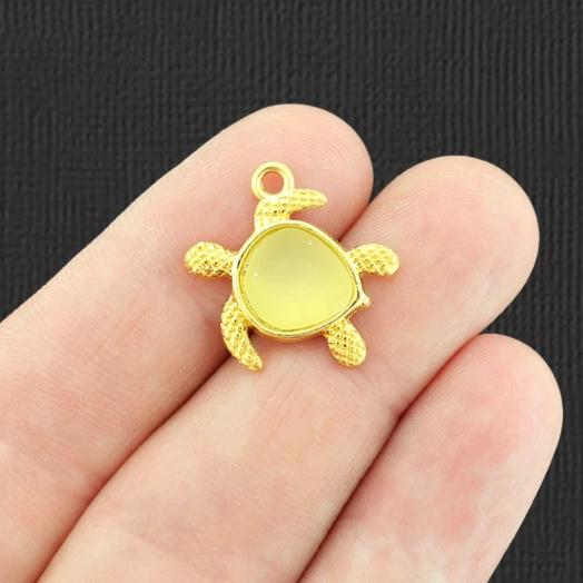 Turtle Antique Gold Tone Charm With Inset Yellow Seaglass - GC1458