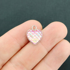 4 Heart Mermaid Scale Stainless Steel Cabochon Charms - FD634
