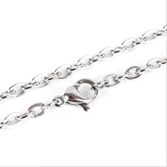 "Stainless Steel Cable Chain Necklace 20"" - 2mm - 10 Necklaces - N105"