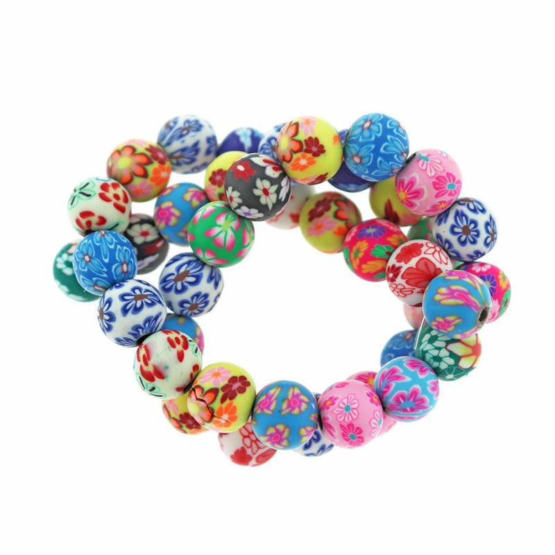 Round Polymer Clay Beads 10mm - Assorted Design - 1 Strand 38 Beads - BD1887