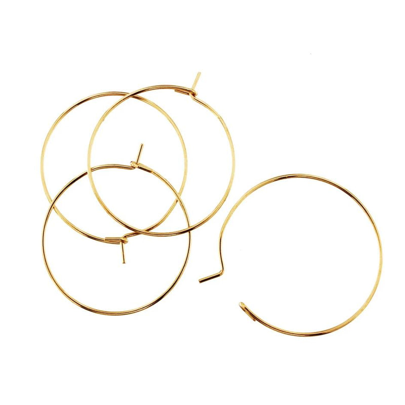 Gold Stainless Steel Earring Wires - Wine Charms Hoops - 25mm - 10 Pieces - FD366