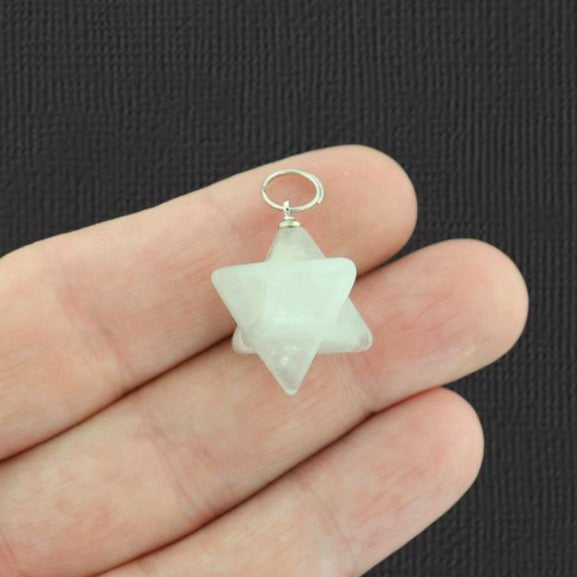 Natural Quartz Merkaba Star Pendant 3D - GEM032
