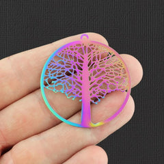2 Tree of Life Rainbow Electroplated Stainless Steel Charms 2 Sided - SSP130