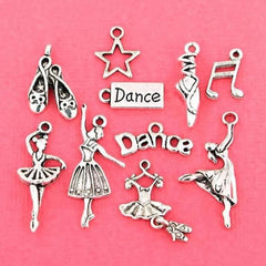 Dance Charm Collection Antique Silver Tone 10 Different Charms - COL032