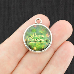 4 Merry Christmas Antique Silver Tone Cabochon Charms - E786