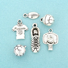 Sports Charm Collection Antique Silver Tone 6 Different Charms - COL352