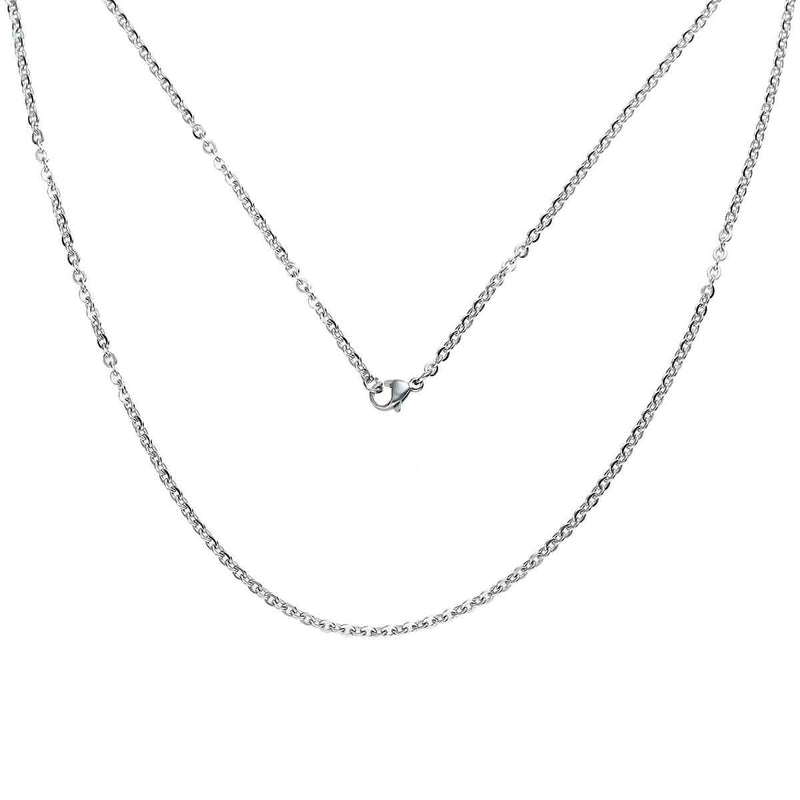 "Stainless Steel Cable Chain Necklace 20"" - 3mm - 5 Necklaces - N209"
