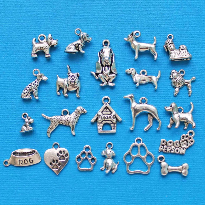 Deluxe Dog Charm Collection Antique Silver Tone 21 Different Charms - COL023