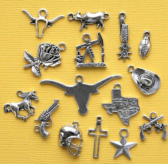 Deluxe Texas Charm Collection Antique Silver Tone 15 Charms - COL261