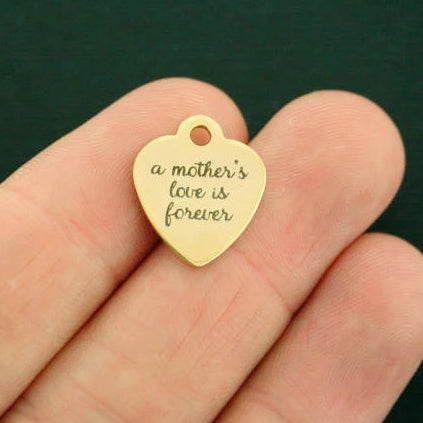Mom Gold Stainless Steel Charm - A mother's love is forever - Smaller Size - Exclusive Line - Quantity Options - BFS1795GOLD
