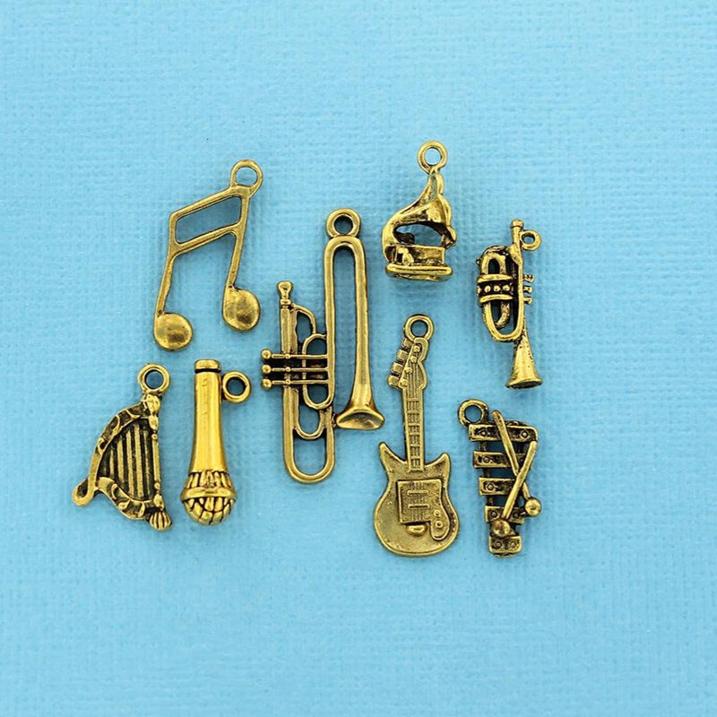 Music Charm Collection Antique Gold Tone 8 Different Charms - COL112