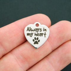 Dog Stainless Steel Charm - Always in my Heart - Exclusive Line - Quantity Options - BFS656