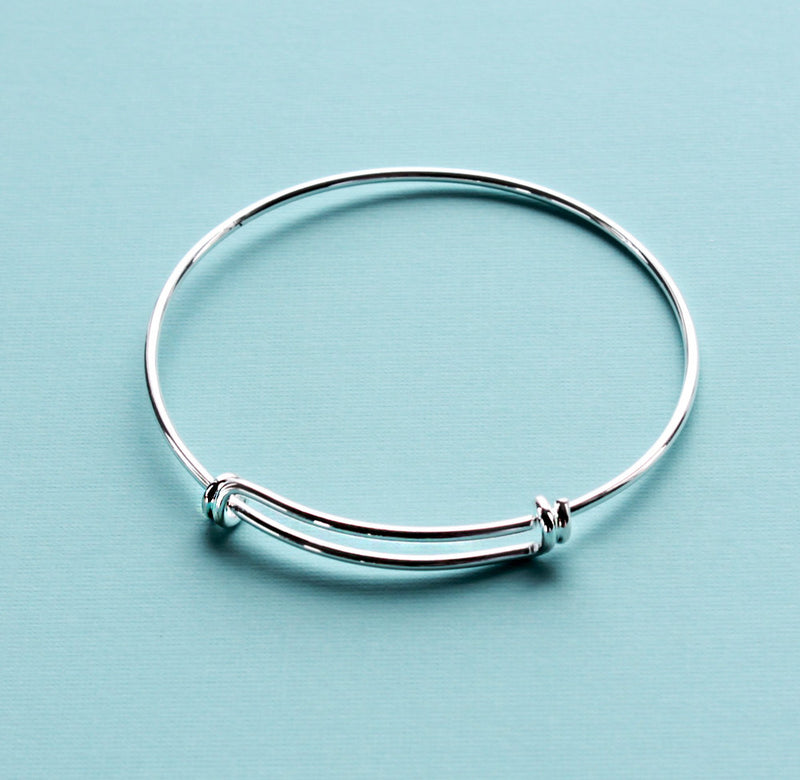 Silver Tone Adjustable Bangle - 65mm - 5 Bangles - N124