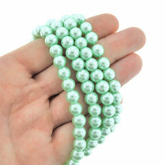 Round Glass Beads 8mm - Mint Green Pearl - 1 Strand 105 Beads - BD278