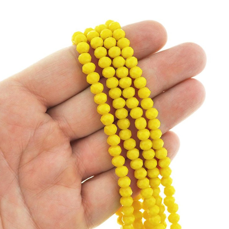 Faceted Glass Beads 6mm x 4mm - Canary Yellow - 1 Strand 98 Beads - BD113
