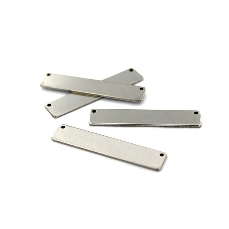 Rectangle Connector Stamping Blanks - Silver Tone Stainless Steel - 39mm x 8mm - 4 Tags - FD742