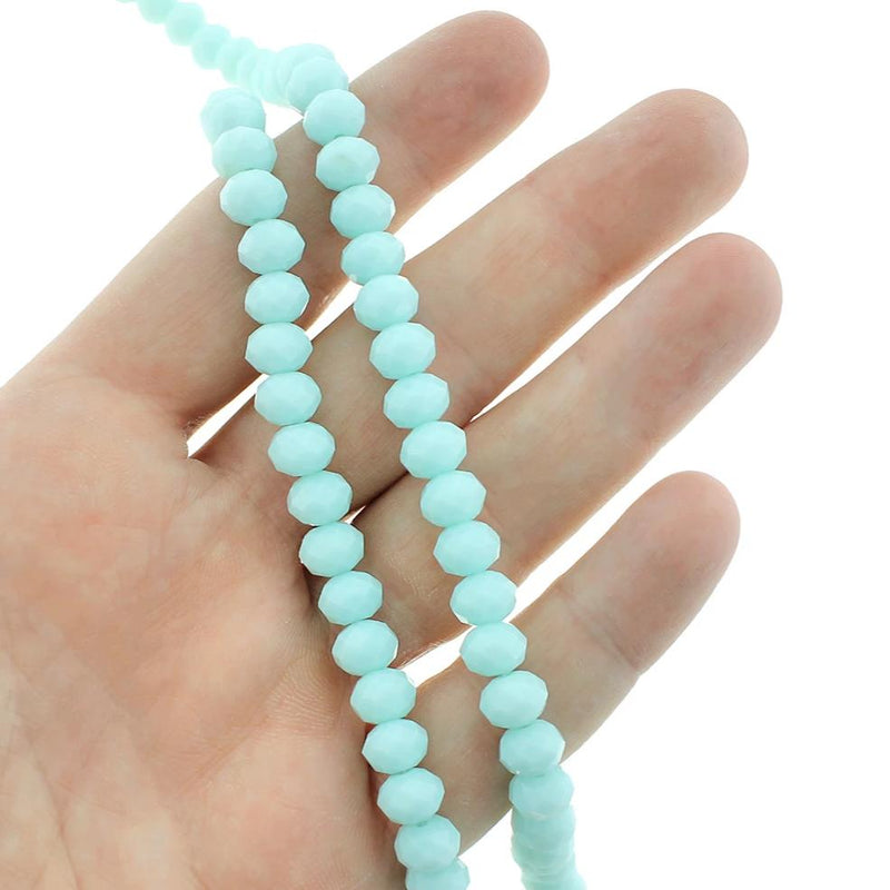 Faceted Glass Beads 8mm x 6mm - Pale Turquoise - 1 Strand 70 Beads - BD1451