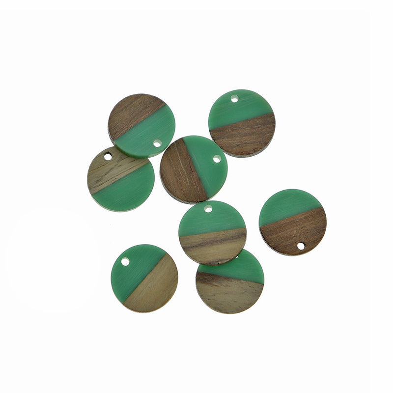 2 Round Natural Wood and Sea Green Resin Charms 18mm - WP100