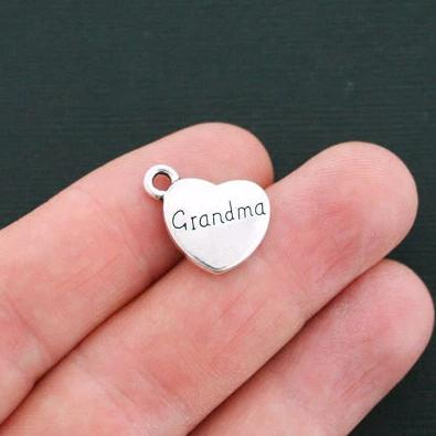 6 Grandma Antique Silver Tone Charms 2 Sided - SC4699
